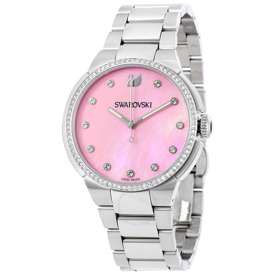 Swarovski city pink mother of pearl dial ladies watch 5205993 swarovski watches jomashop for Pearl watches