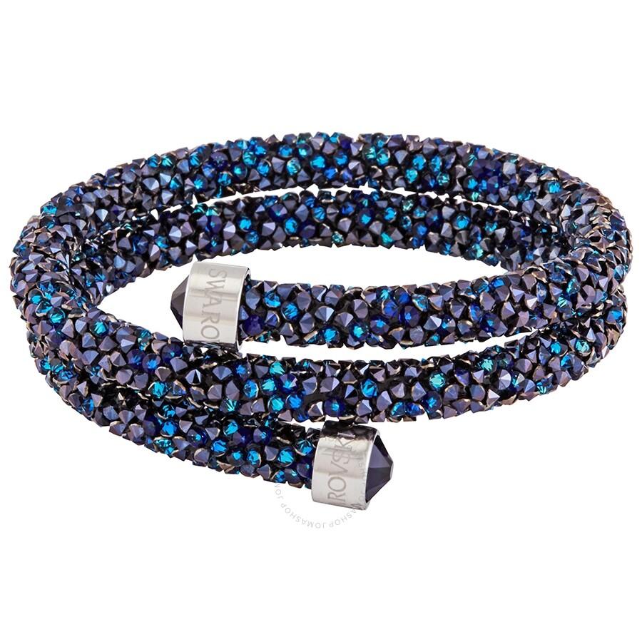 Swarovski Crystaldust Double Bangle, Blue, Stainless Steel Bracelet