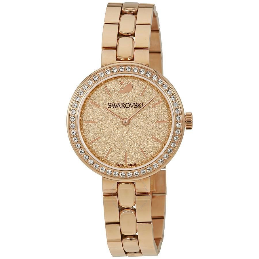 Swarovski daytime peach dial rose gold tone ladies watch 5182231 swarovski watches jomashop for Watches rose gold