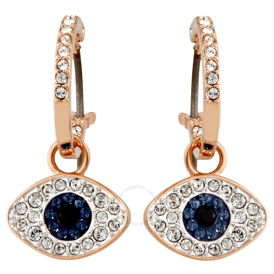 Swarovski Duo Rose Gold Plated Evil Eye Hoop Earrings