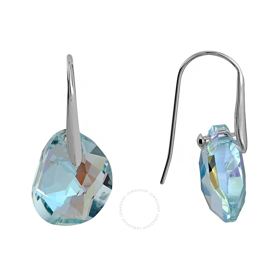 Swarovski Galet Light Azore Blue Crystal Earrings 949740