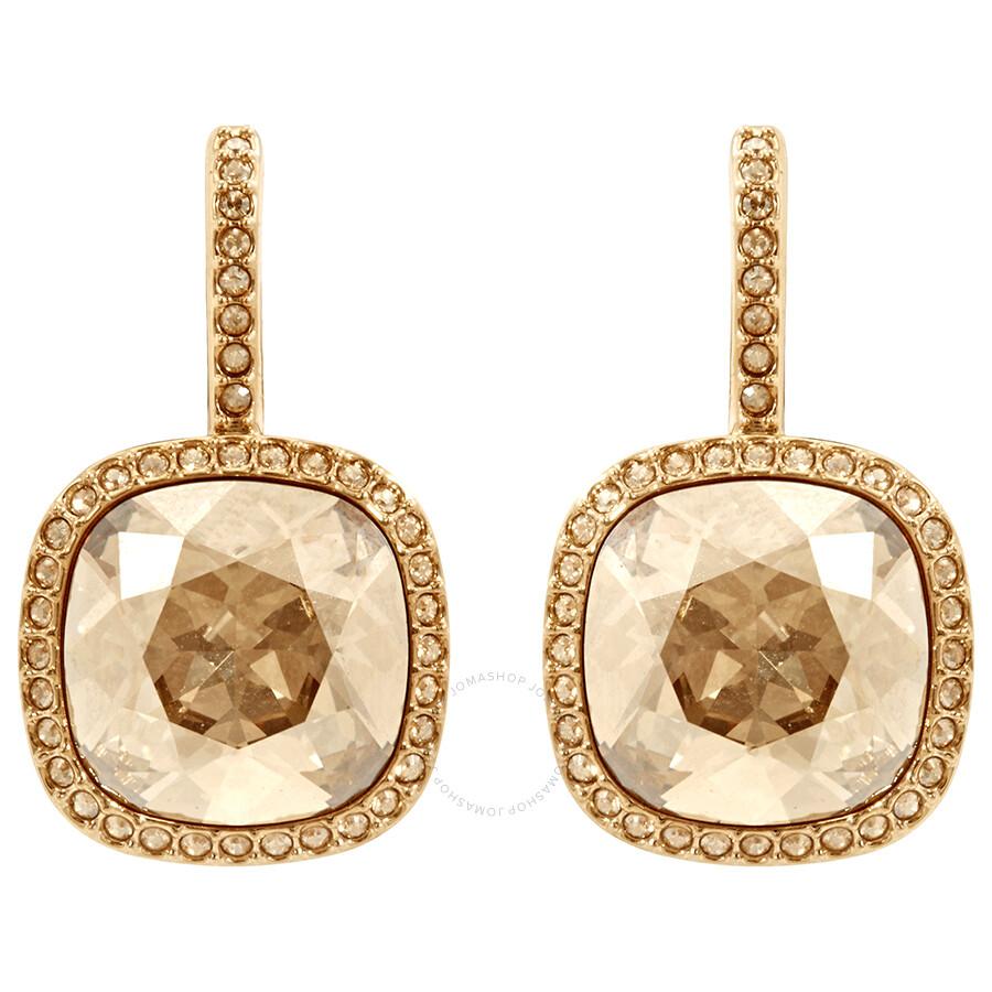 Swarovski Gold Tone Latude Pierced Earrings