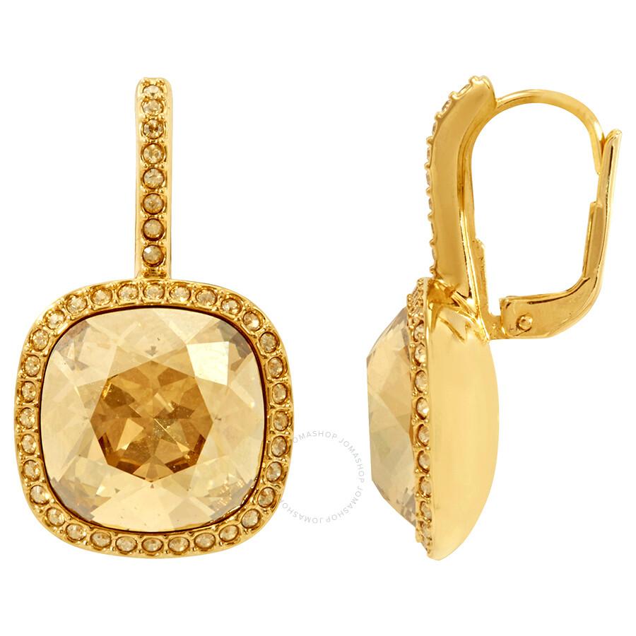 Swarovski Gold-Tone Lattitude Pierced Earrings - Swarovski - Ladies ... 30f207e5f7