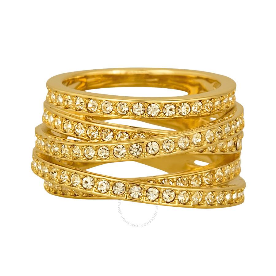 swarovski gold plated spiral ring 5032927 swarovski. Black Bedroom Furniture Sets. Home Design Ideas