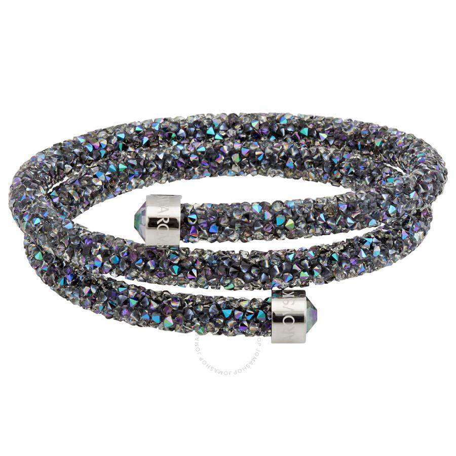 Swarovski Ladies Crystaldust Stainless Steel Grey Double Bangle