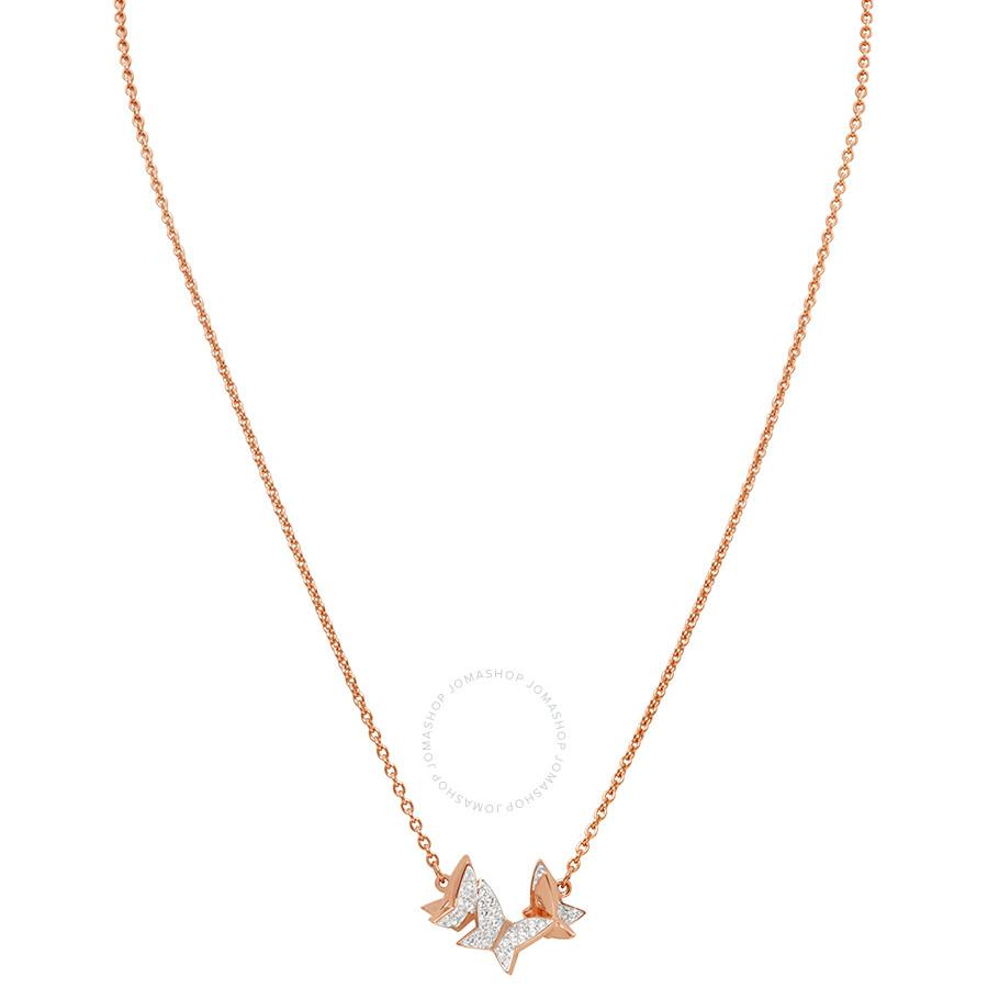 5e5d501011c86 Swarovski Lilia Rose Gold Butterfly Necklace