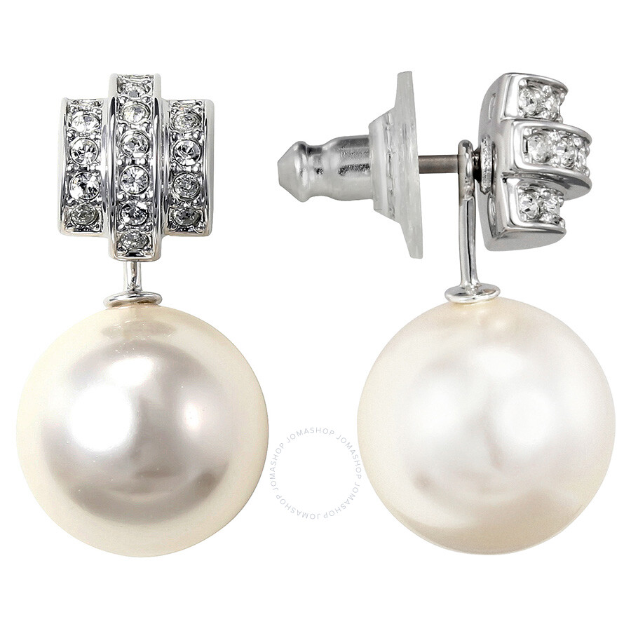 43f3bfcfc Swarovski Pearl Drop Perpetual Rhodium Earrings 1106454 - Swarovski ...