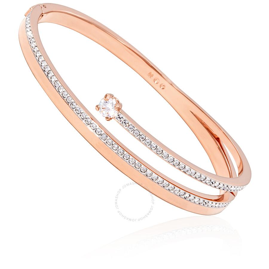 Derechos de autor Bebida comercio  Swarovski Rose Gold Plated Bangle- Size M 5217727 - Jewelry - Jomashop