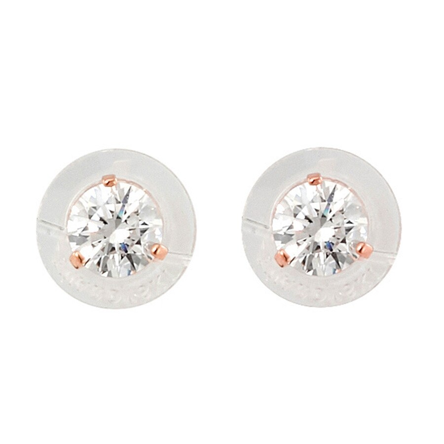 Swarovski Solitaire Pierced Earrings White Rose Gold Plating 5112156