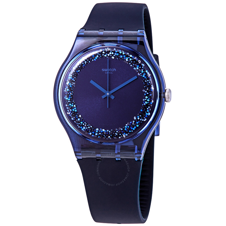 Ladies Blusparkles Swatch Watch Bluecrystal Dial Suon134 UVpMGzqS