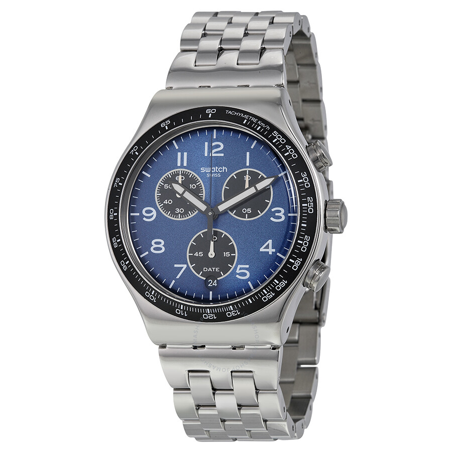 swatch boxengasse chronograph blue stainless steel