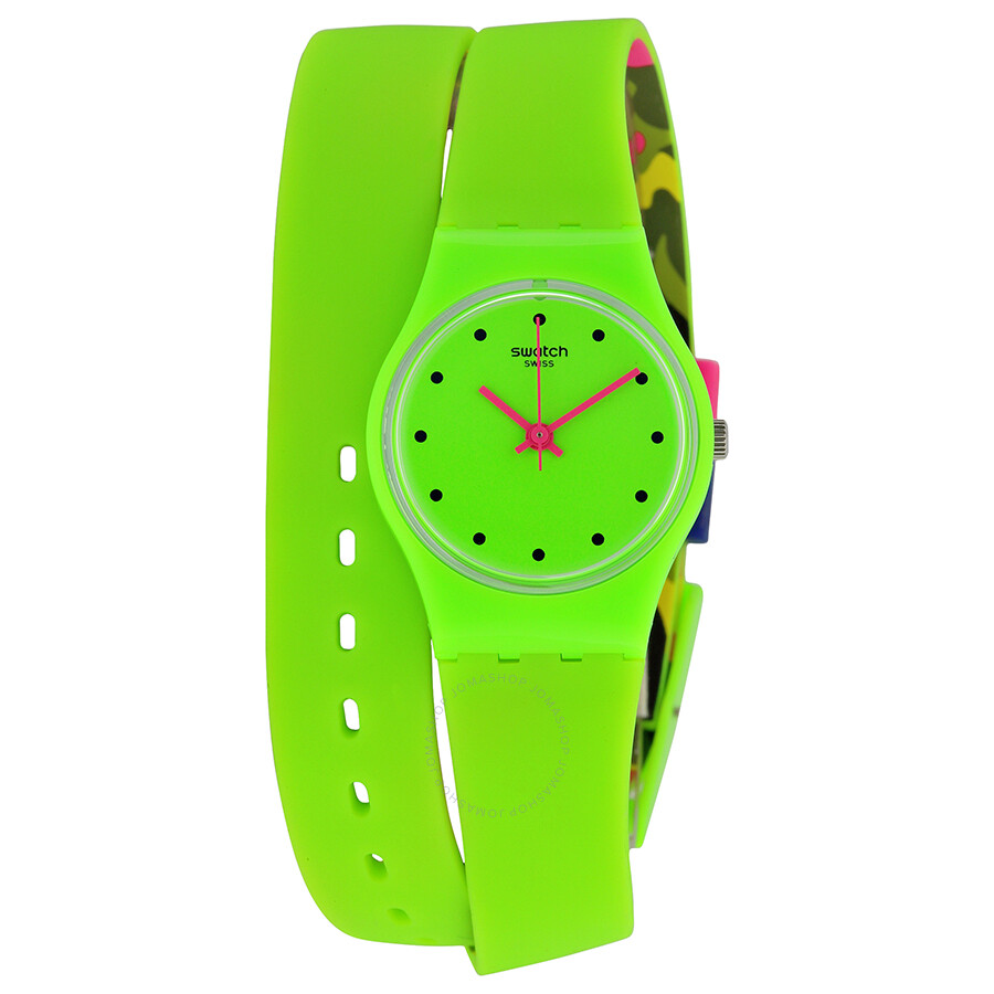 Swatch Camovert Green Dial Green Silicone Ladies Watch LG128