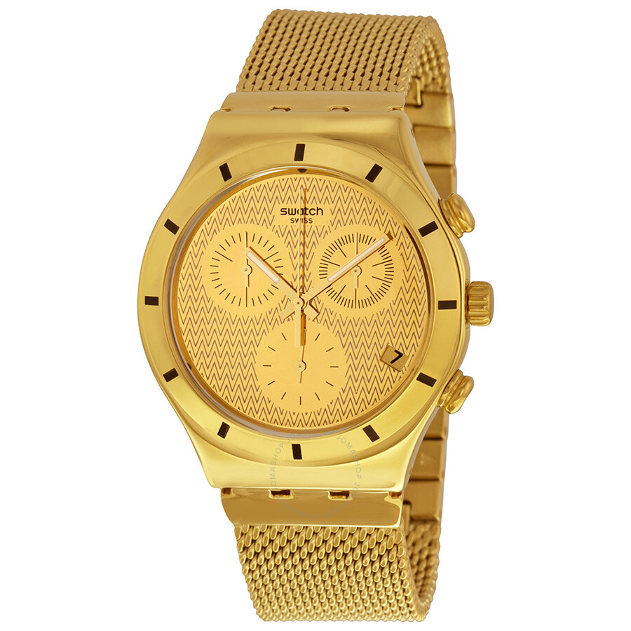 swatch chronograph gold gold plated mesh unisex