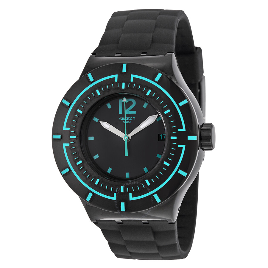 swatch water black black silicone s sports