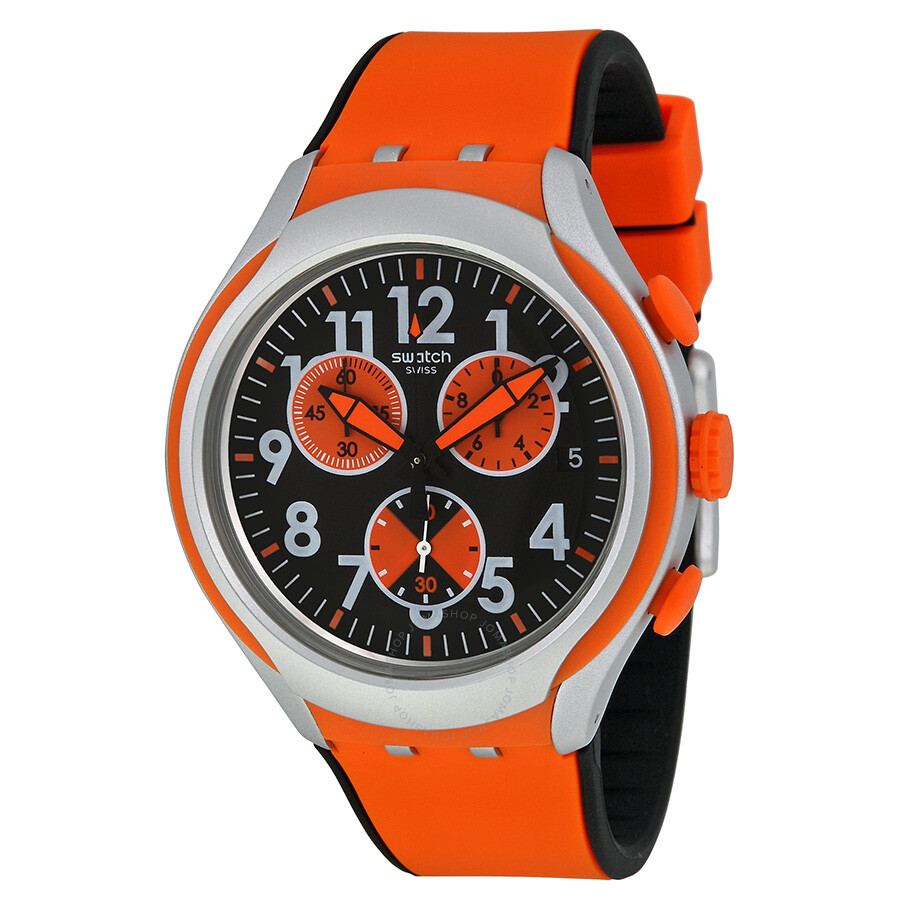 swatch feel strong black and orange dial orange silicone