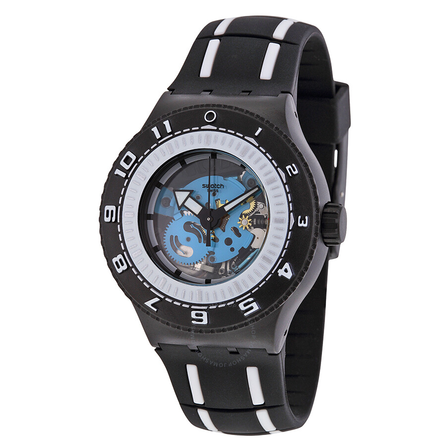 swatch feel the sea skeleton black rubber s