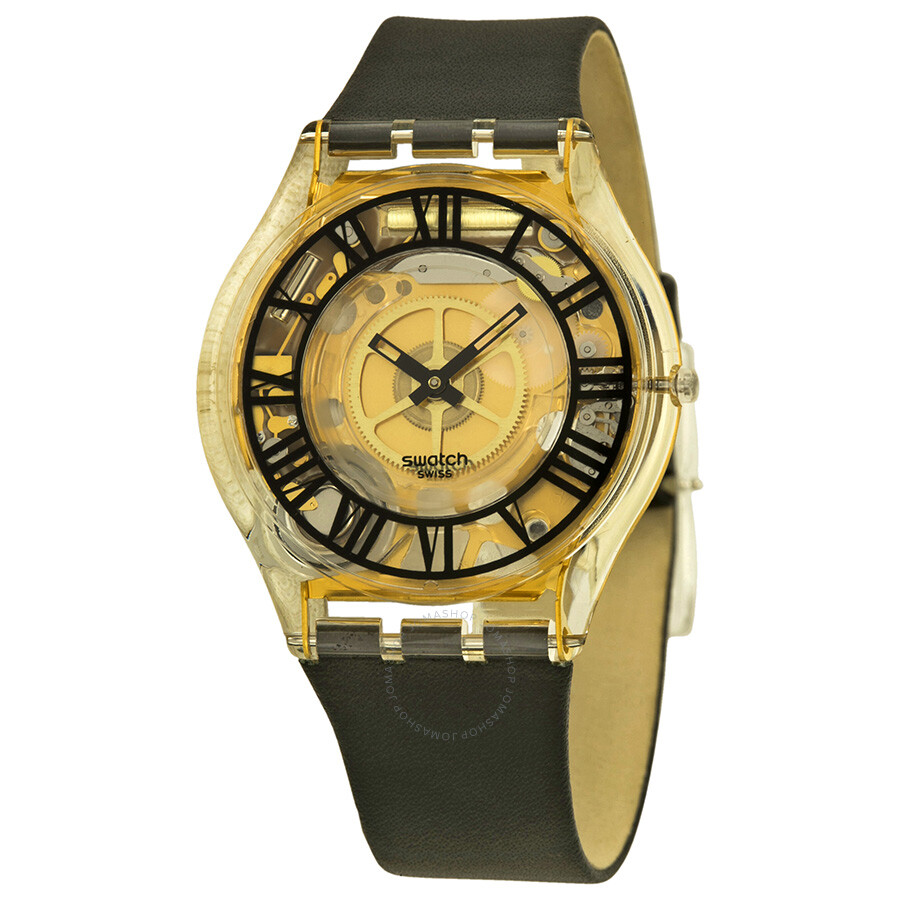 swatch forot transparent gold black leather