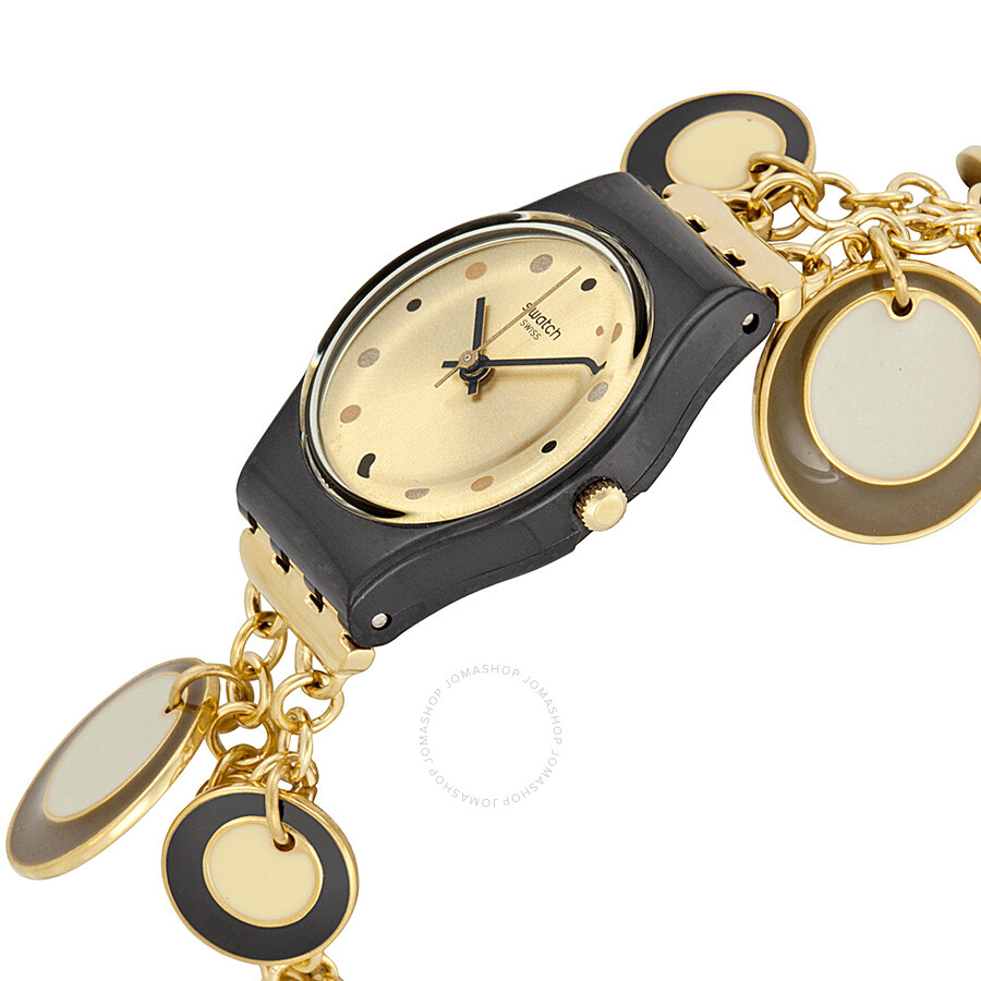 swatch goldholic gold black plastic