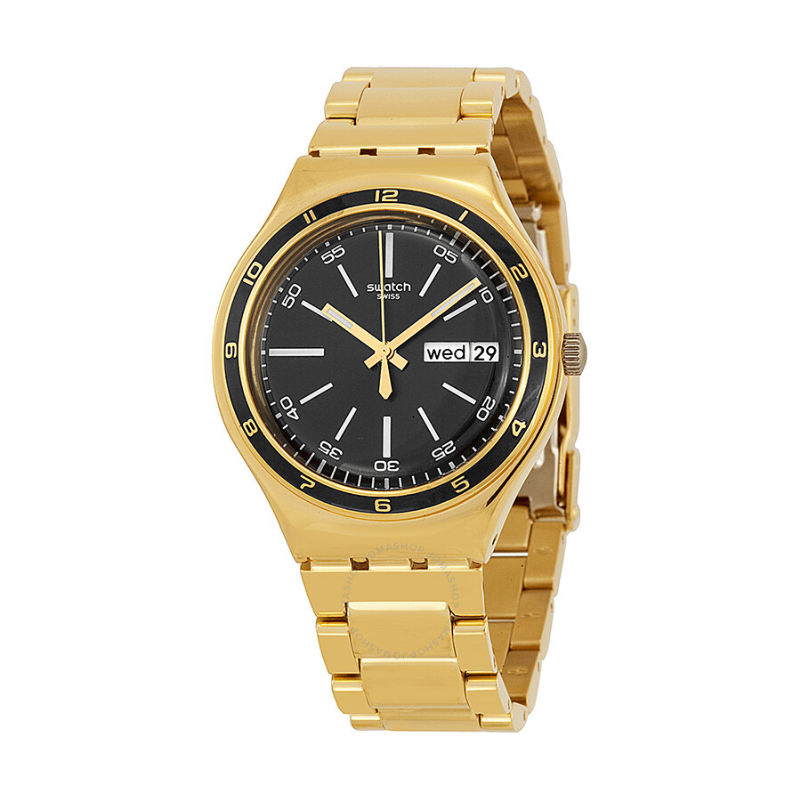 swatch irony black gold tone stainless steel bracelet