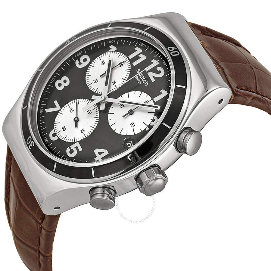 swatch irony browned chronograph black leather
