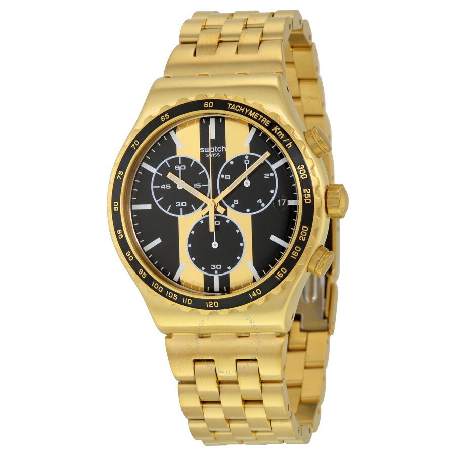 swatch irony chronograph black and gold gold plated