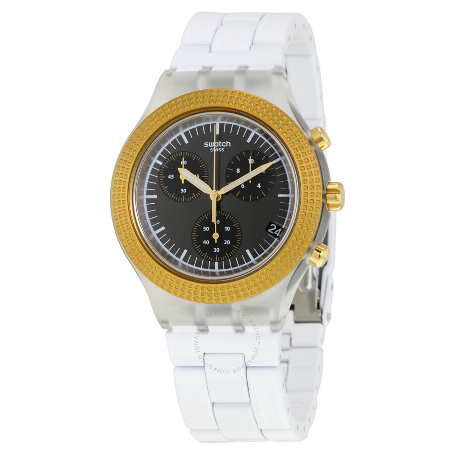 swatch irony chronograph black dial white plastic men s watch swatch irony chronograph black dial white plastic men s watch svck4081ag