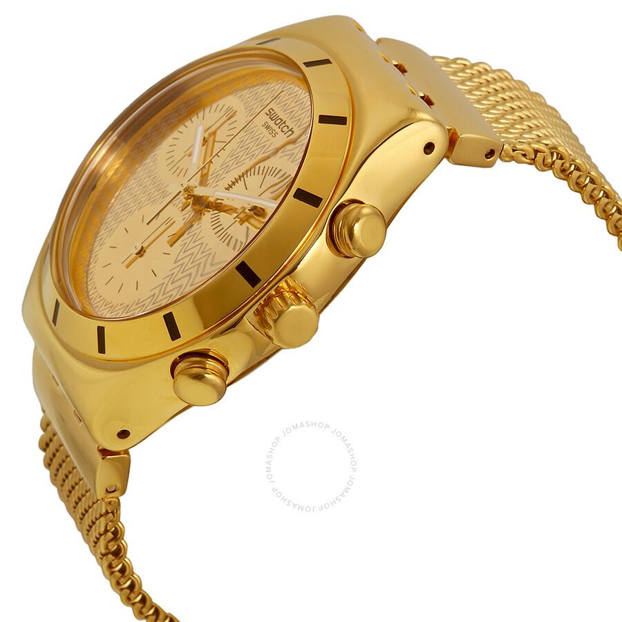 swatch irony chronograph gold gold tone unisex