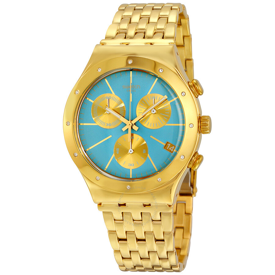 swatch watches jomashop swatch irony turchesa chronograph blue dial men s watch