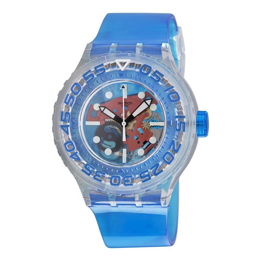swatch o tini skeleton blue plastic unisex sports