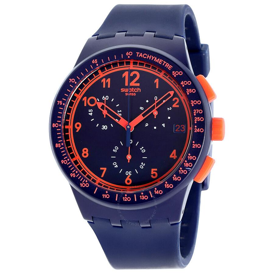 swatch originals blue rebirth blue and orange chronograph menus watch susn