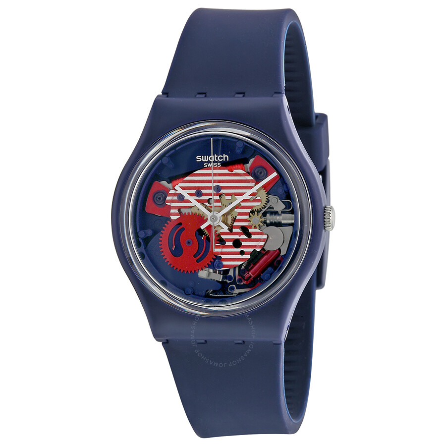 Наручные часы Swatch Porticciolo Red White Transparent Dial Blue Silicone Band Ladies Watch