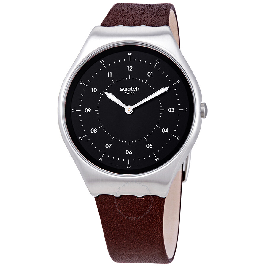 Swatch Skinbrushed Black Dial Brown Leather Men S Watch Syxs102