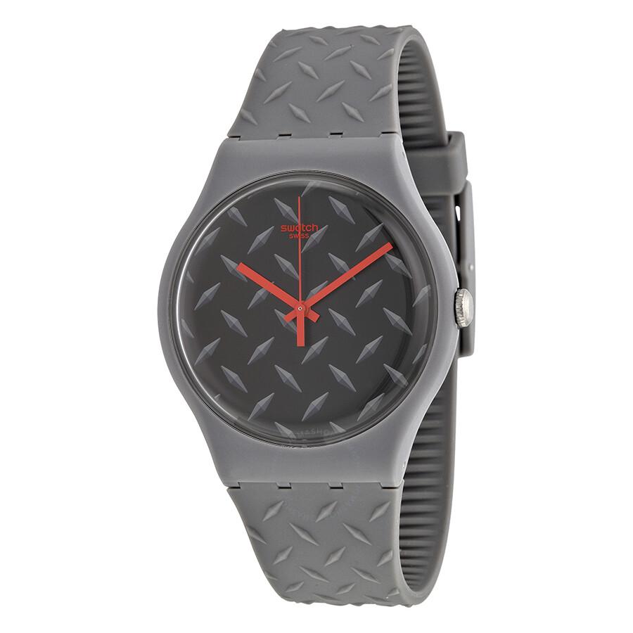 swatch text ure matte black dial quartz men s watch suom102