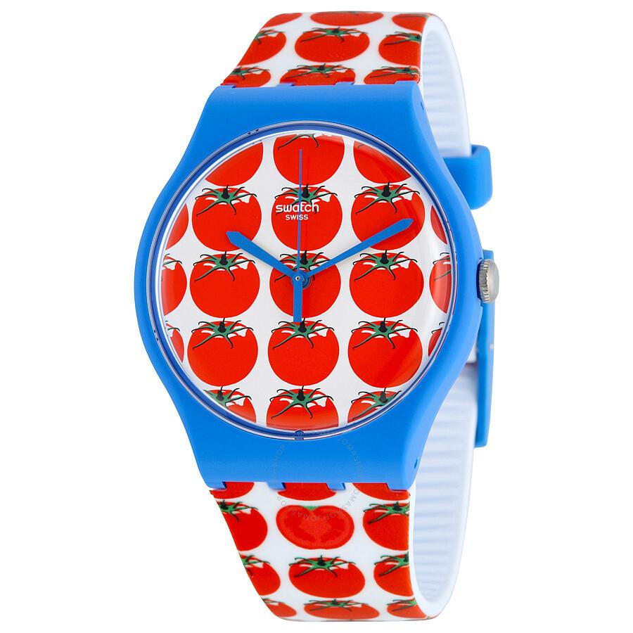 swatch tomatella tomato logo dial tomato logo silicone watch suos
