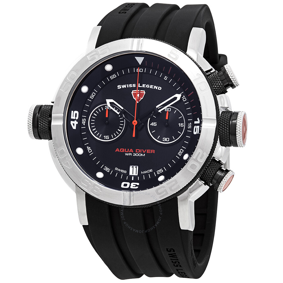 Swiss legend aqua diver chronograph black dial watch sl 10622sm 01 bb oa swiss legend for Aqua marine watches