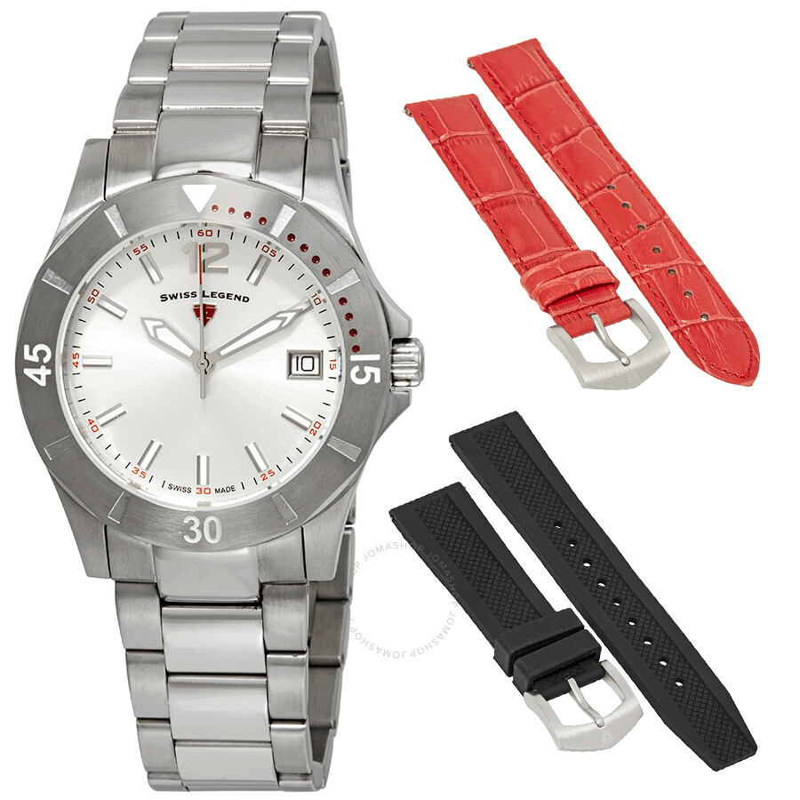 2bb24c3f098 Swiss Legend Paradiso Ladies Stainless Steel Watch Set with 2 Interchangeable  Straps SL-16017SM-
