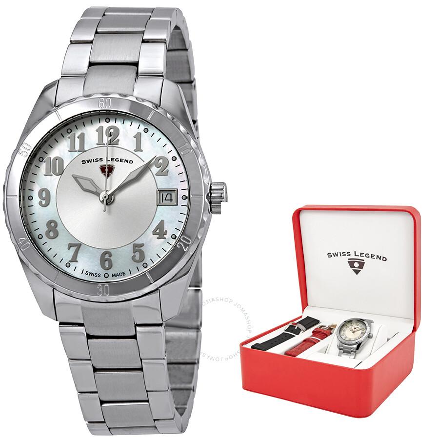 2f1368c9596 Swiss Legend Sea Breeze Mother of Pearl Ladies Watch Set with 2 Bonus Interchangeable  Watch Straps