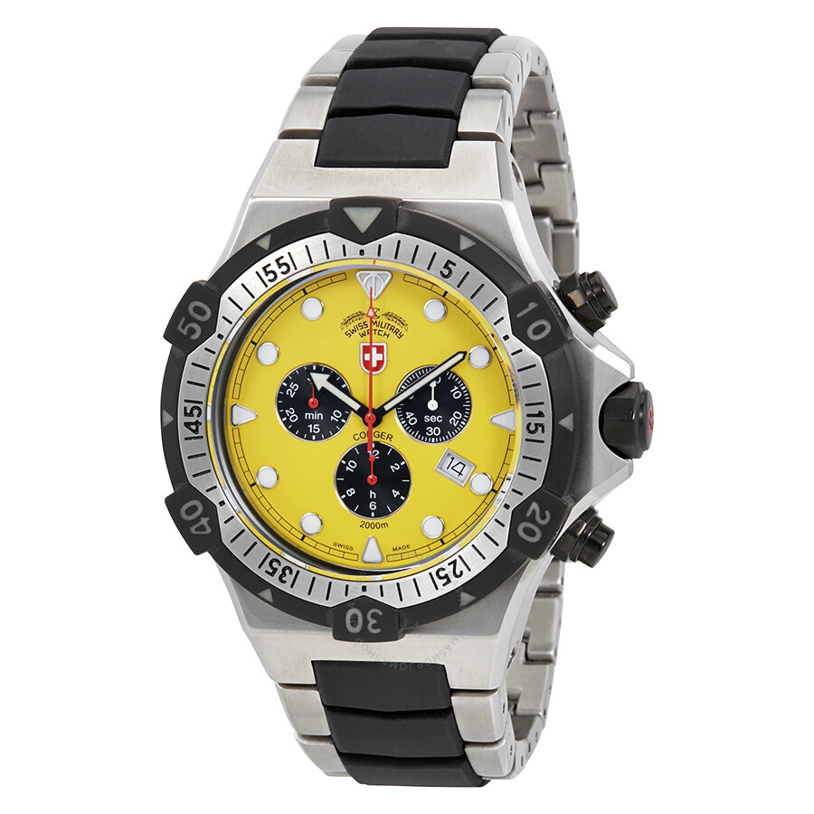 swiss military conger chronograph yellow dial men s watch 2218
