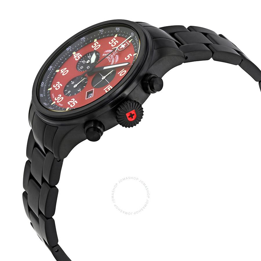 ... Swiss Military Hawk Red Dial Black PVD Men's Watch 2734 ...