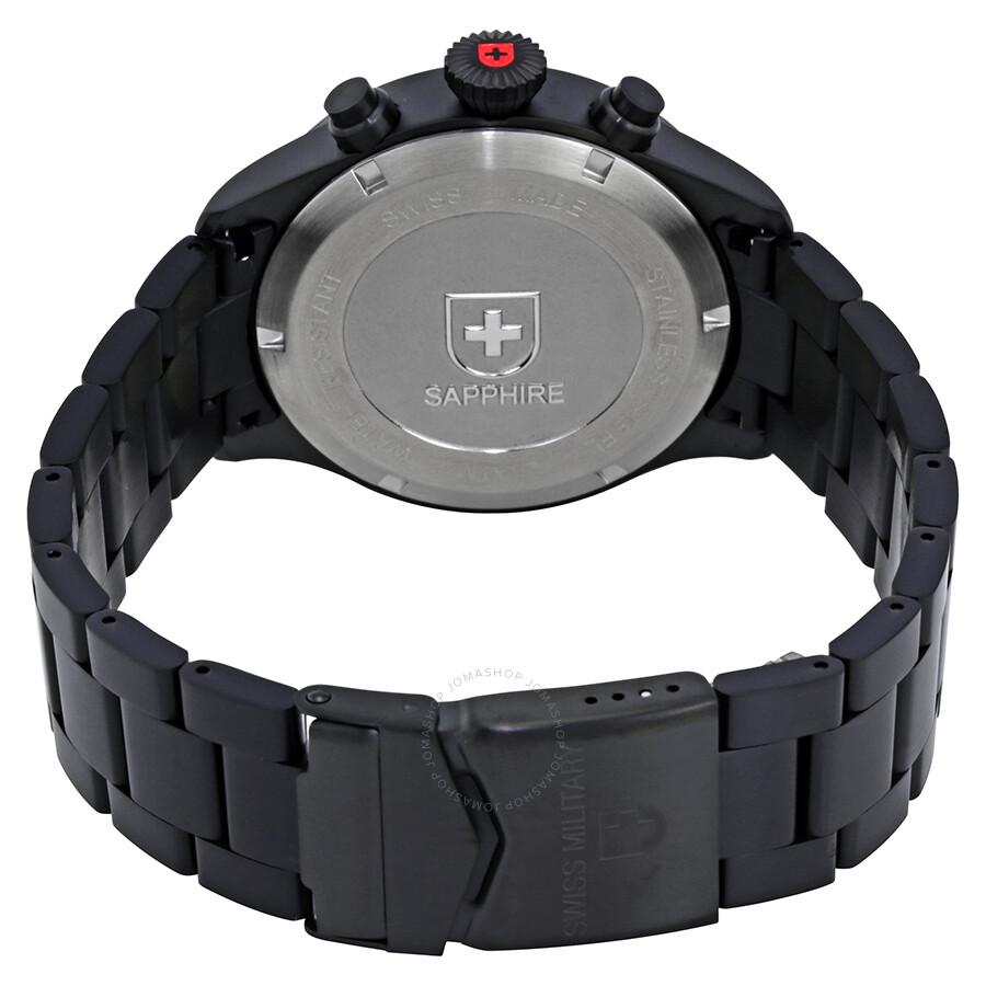 ... Swiss Military Hawk Red Dial Black PVD Men's Watch 2734