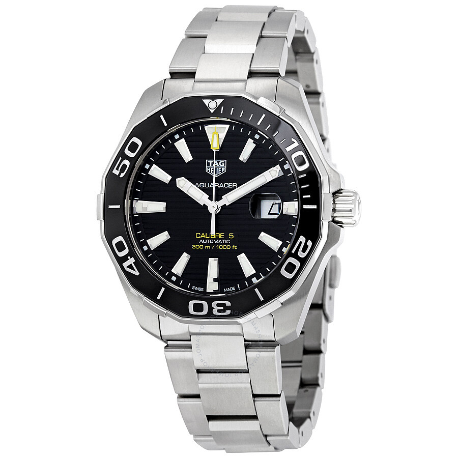 Tag heuer aquaracer automatic black dial men 39 s watch way201a ba0927 aquaracer tag heuer for Tag heuer automatic