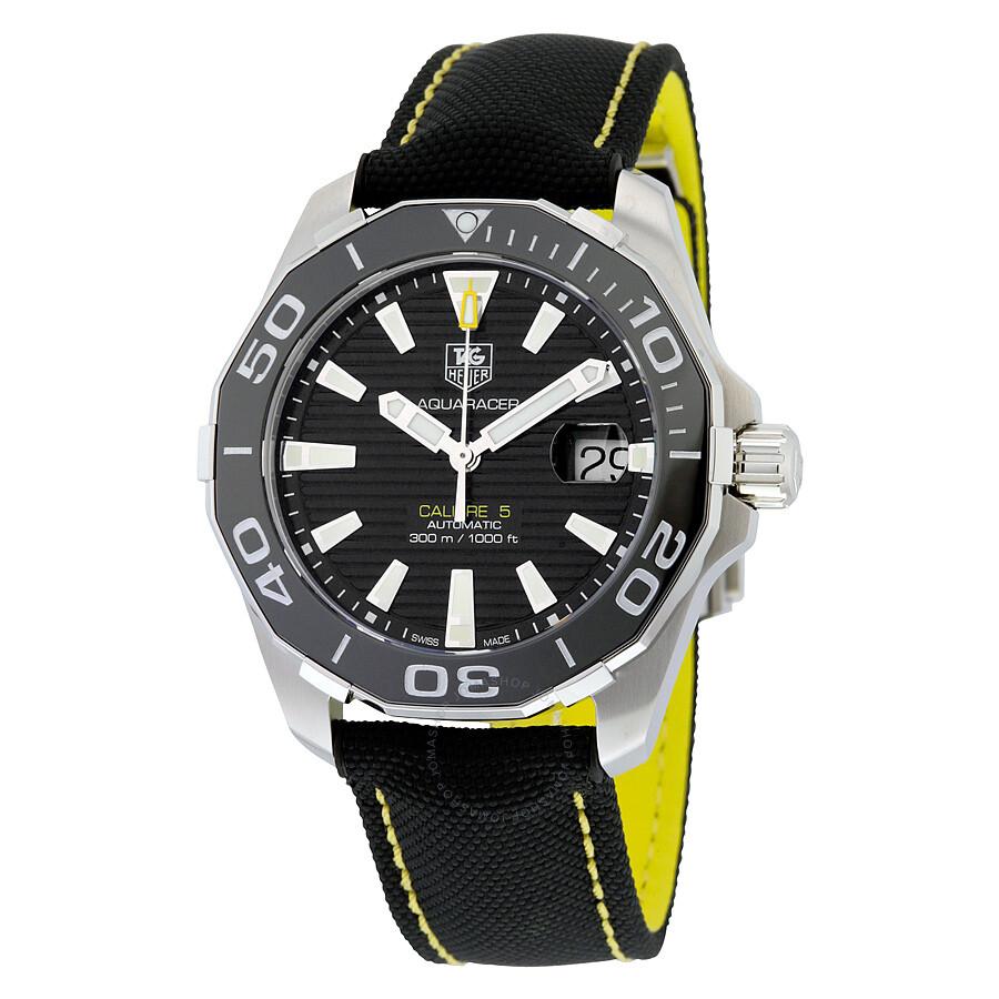 Tag heuer aquaracer automatic black dial men 39 s watch way211a fc6362 aquaracer tag heuer for Tag heuer aquaracer