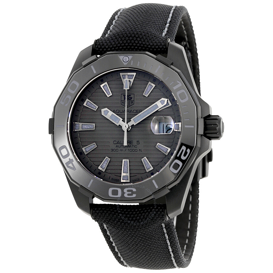 Tag heuer aquaracer automatic black dial men 39 s watch way218b fc6364 calibre 5 aquaracer for Tag heuer automatic