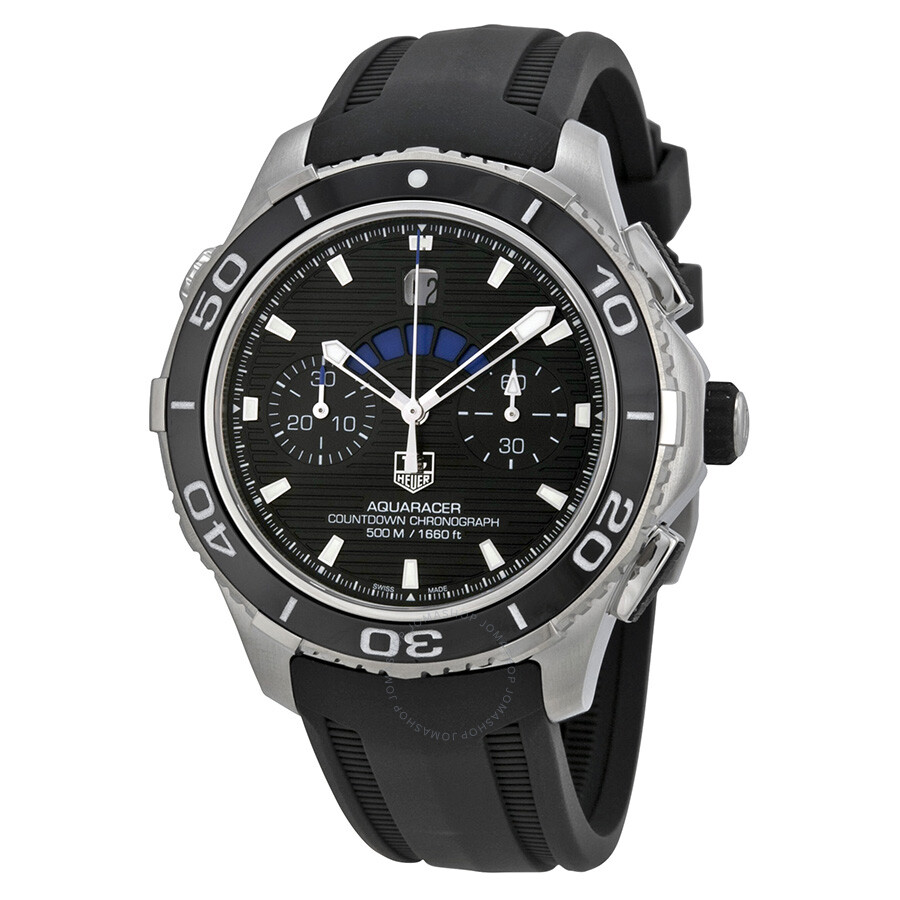 Tag heuer aquaracer automatic chronograph black dial black rubber men 39 s watch cak211a ft8019 for Rubber watches