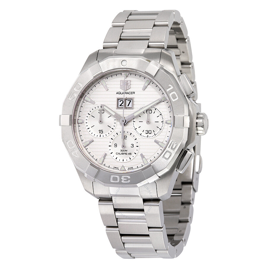 Tag heuer aquaracer automatic chronograph silver dial stainless steel men 39 s watch cay211y ba0926 for Tag heuer automatic