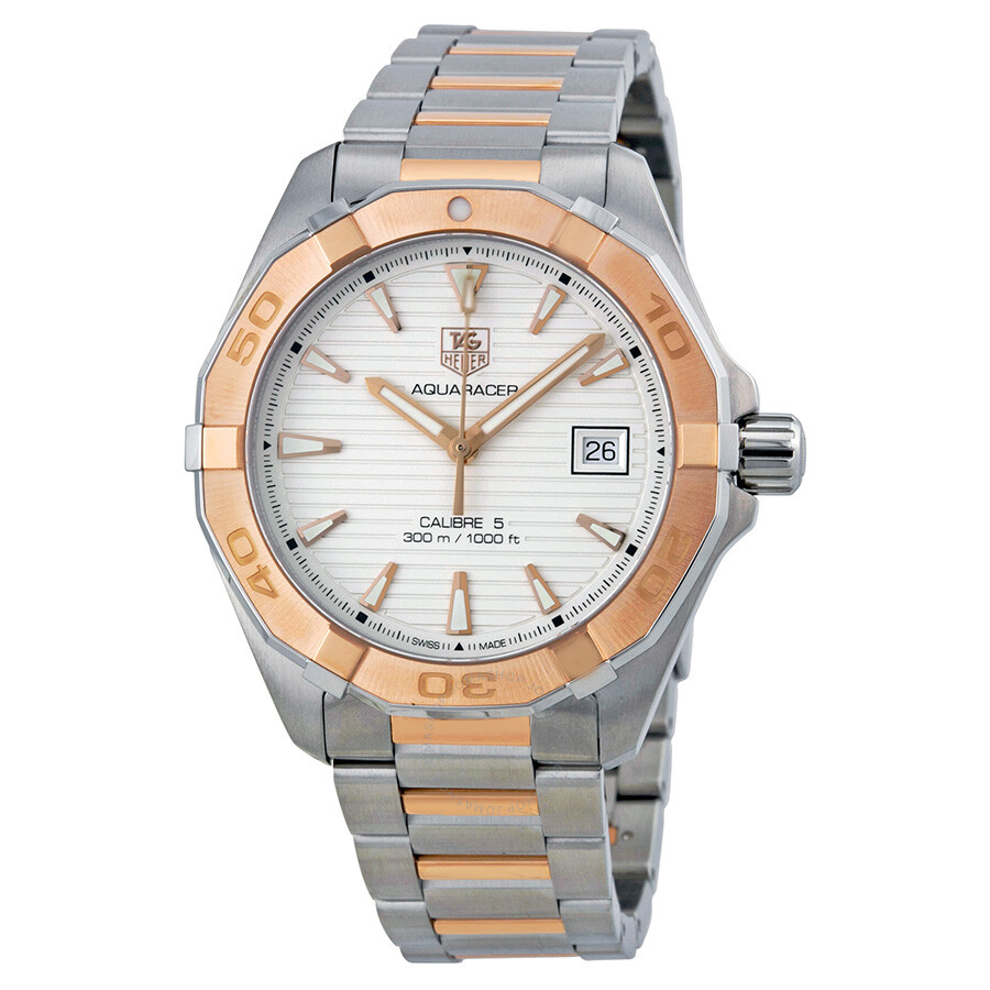 385c3cfdc5d Tag Heuer Aquaracer Automatic Silver Dial Stainless Steel and 18kt Rose  Gold Men's Watch WAY2150.