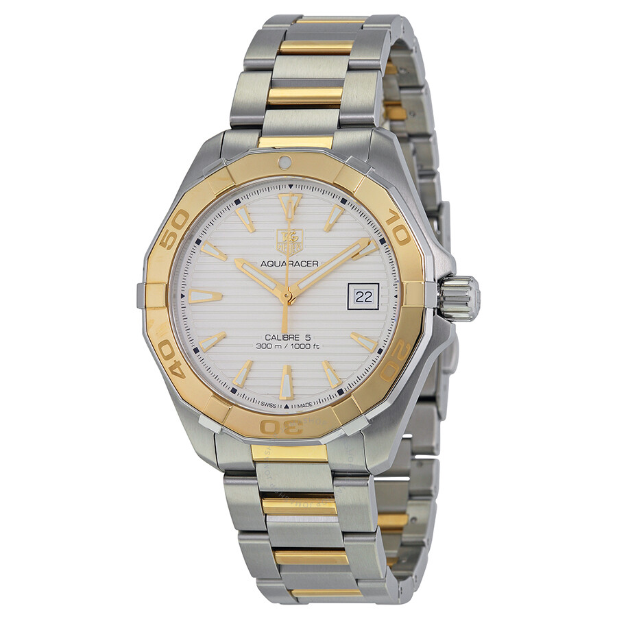 65d0890972aee Tag Heuer Aquaracer Automatic White Dial Steel and 18kt Yellow Gold Men's  Watch WAY2151.