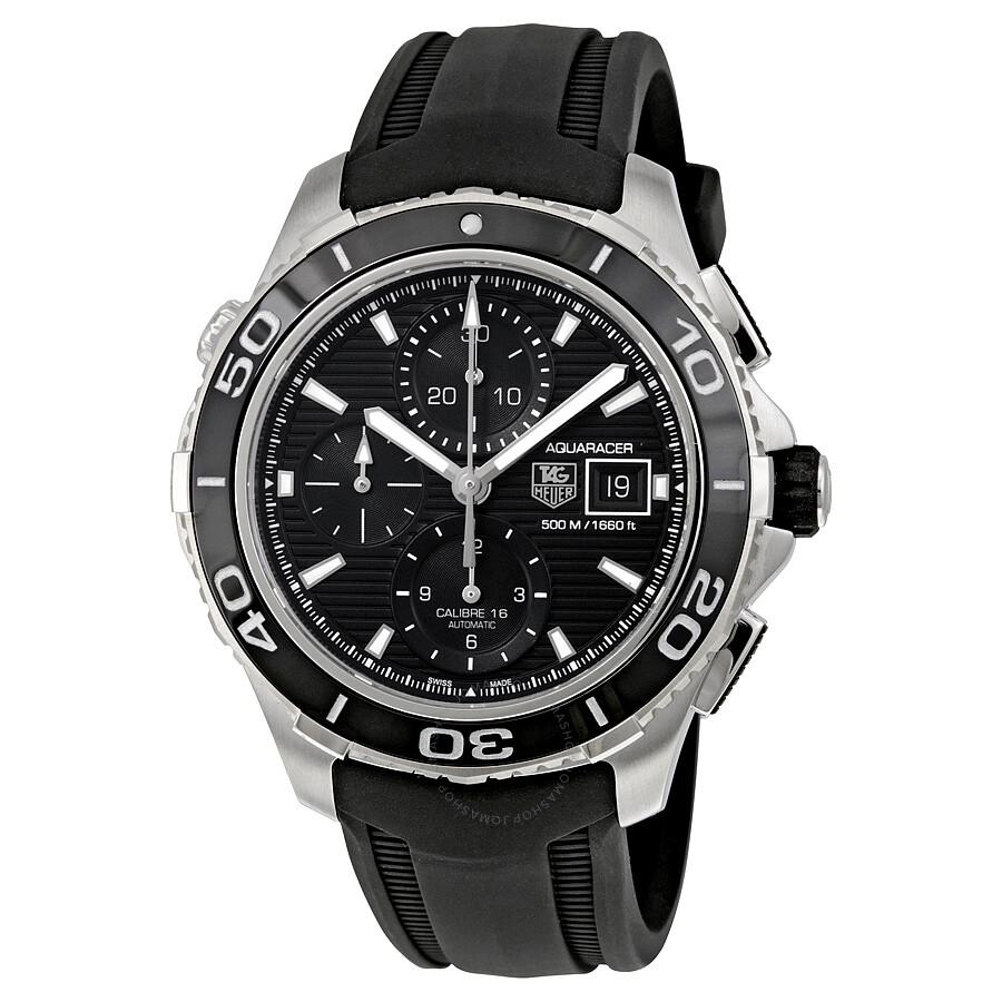 Tag heuer aquaracer black dial chronograph black rubber men 39 s watch cak2110ft8019 aquaracer for Tag heuer aquaracer