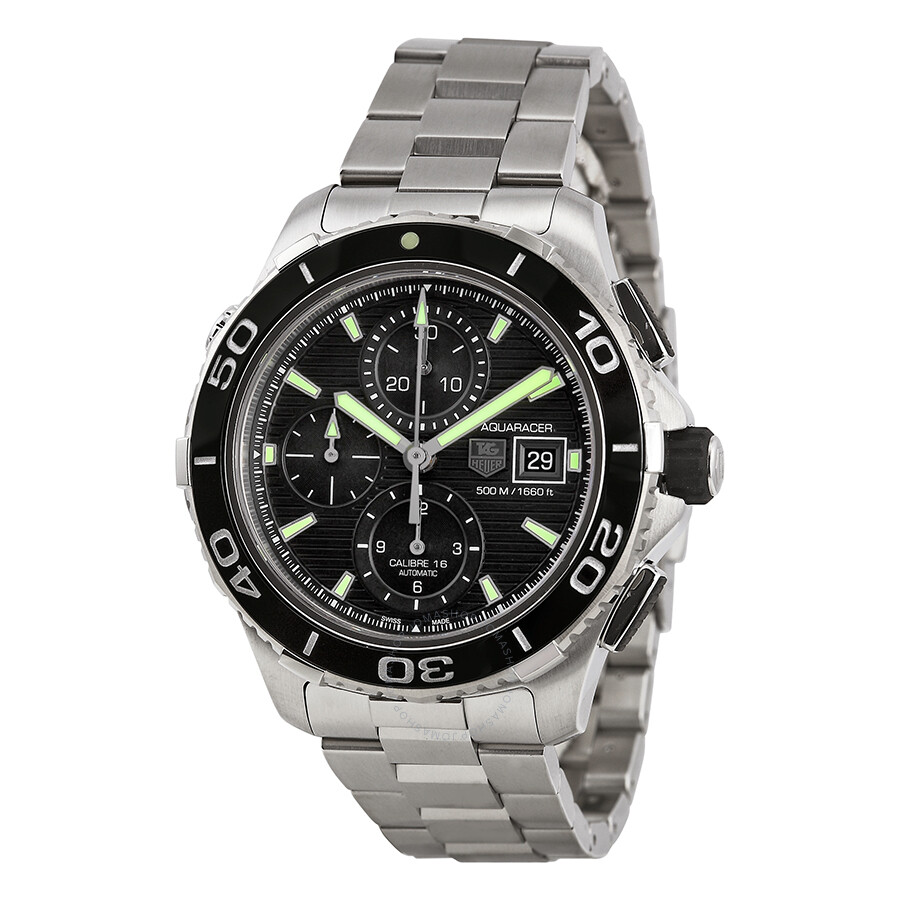 Tag heuer aquaracer chronograph black dial men 39 s watch cak2111ba0833 aquaracer tag heuer for Tag heuer chronograph