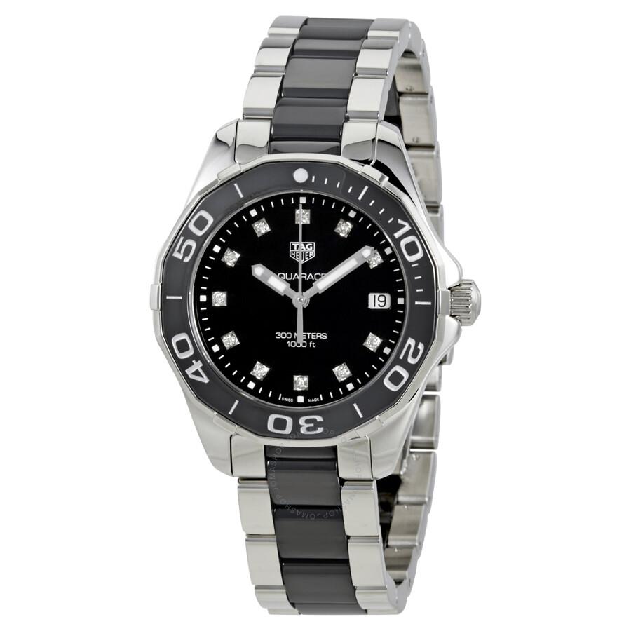 Tag heuer aquaracer black dial diamond ladies watch way131c ba0913 aquaracer tag heuer for Tag heuer women
